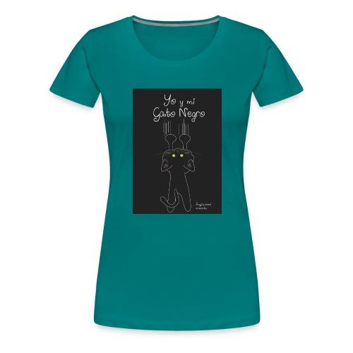 Camiseta gato Negro - Camiseta premium mujer