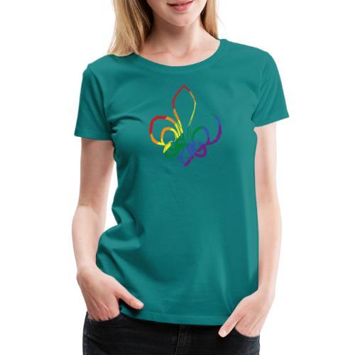 Pinselstrich Lilie Regebogenfahne - Frauen Premium T-Shirt