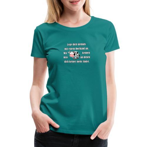 Dorfkind mit Kuh weiss - Frauen Premium T-Shirt