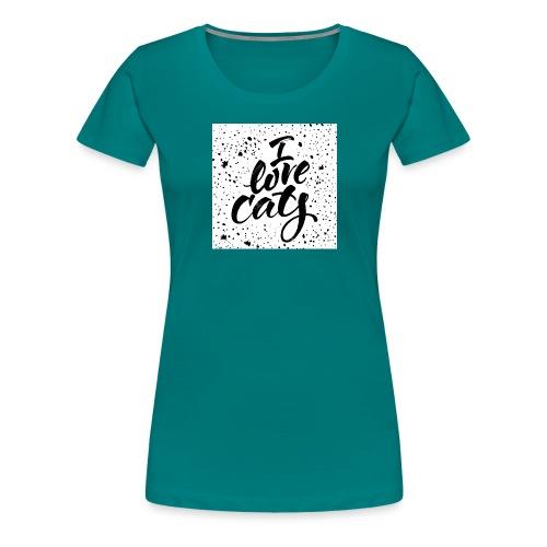 amo gatos - Camiseta premium mujer