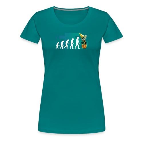 Evolution der coolen Ananas mit schoenen Hintergru - Frauen Premium T-Shirt