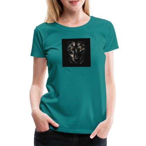 94320755 myo desenho retrato de um lobo negro sobr - Camiseta premium mujer