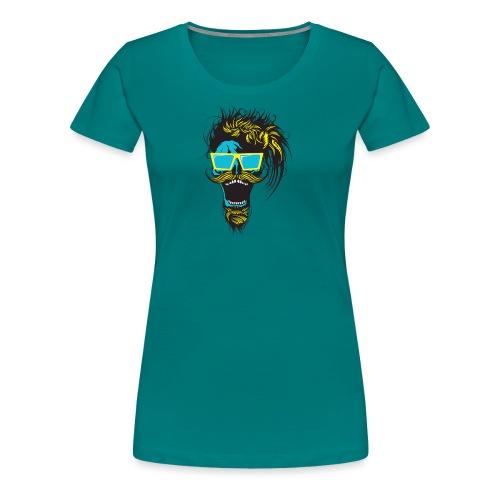 tete de mort hipster crane skull moustache barbe b - T-shirt Premium Femme