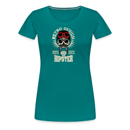 tete de mort hipster biker skull crane motard lune - T-shirt Premium Femme