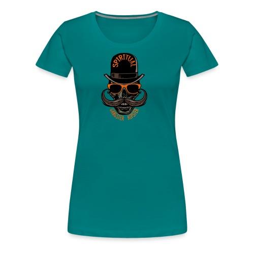 tete de mort hipster crane skull gangster moustach - T-shirt Premium Femme