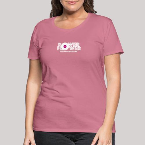 Logo PowerFlower bianco e fuxia - Maglietta Premium da donna