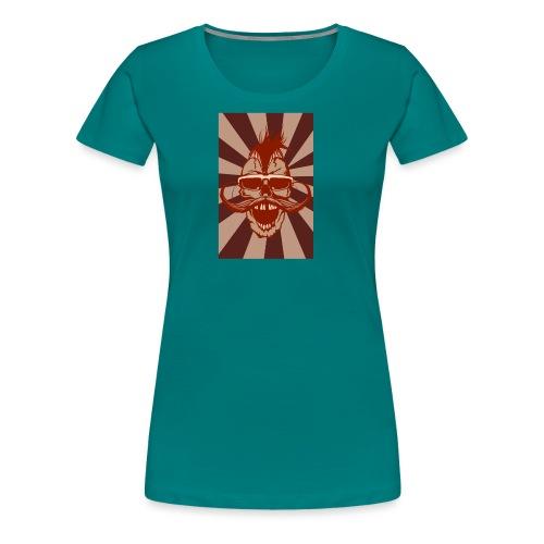 tete de mort crane hipster skull moustache design - T-shirt Premium Femme