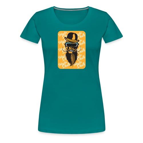 tete de mort crane hipster skull barbu moustache c - T-shirt Premium Femme