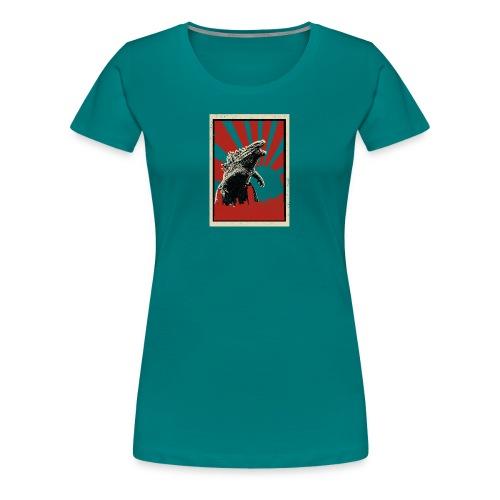 GodZilla red sun rays flare vintage movie poster - Women's Premium T-Shirt