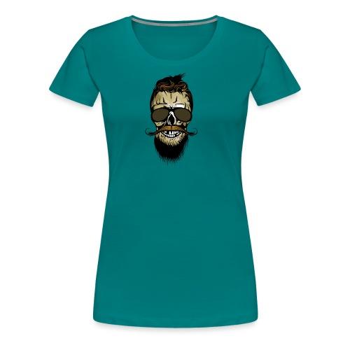 tete de mort hipster barbu barbe crane lunette de - T-shirt Premium Femme