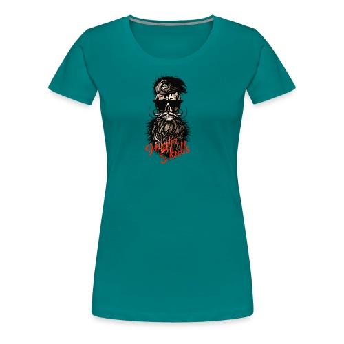 tete de mort barbu hipster barbe crane moustache m - T-shirt Premium Femme