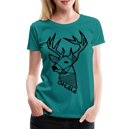 Zweiseitig bedruckt - Hirsch vorne - Logo hinten - Frauen Premium T-Shirt