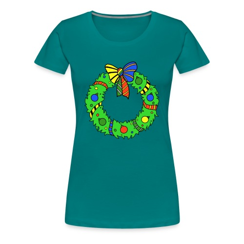 Christmas Wreath in House Colours - Women's Premium T-Shirt