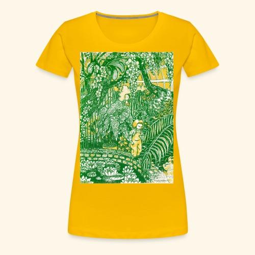 Children in a green garden - Naisten premium t-paita