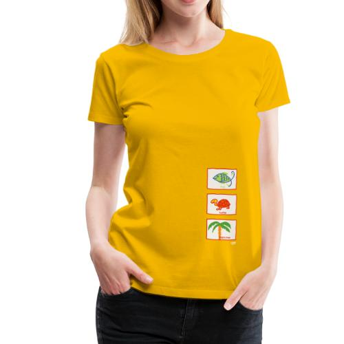 Fisch, Schildkröte, Palme: Urlaub Strand Freizeit - Frauen Premium T-Shirt