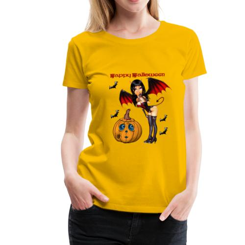 Happy Halloween Kürbis mit Fledermausgirl - Frauen Premium T-Shirt