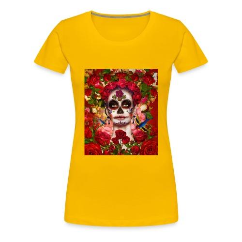 La-Catrina mit Rosen und Vögeln - Frauen Premium T-Shirt