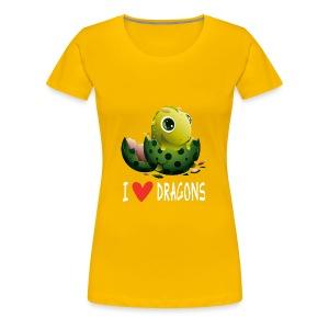 Ich liebe Drachen Tshirt - Dame premium T-shirt