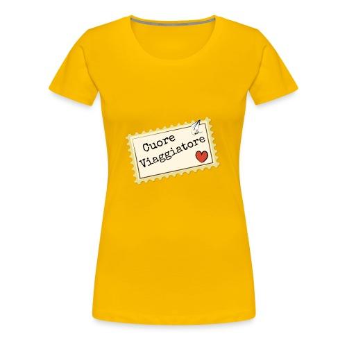 CUORE VIAGGIATORE Scritta con aeroplanino e cuore - Maglietta Premium da donna