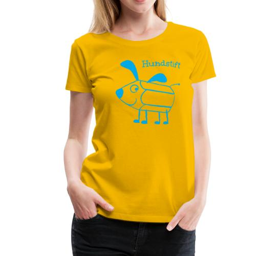 Hundstift Hugo lacht, blau - Frauen Premium T-Shirt