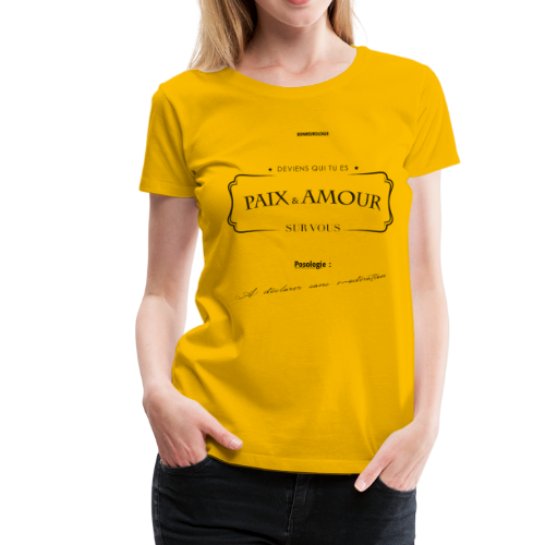 Aller Plus H4ut - Paix & Amour - Noir - T-shirt Premium Femme