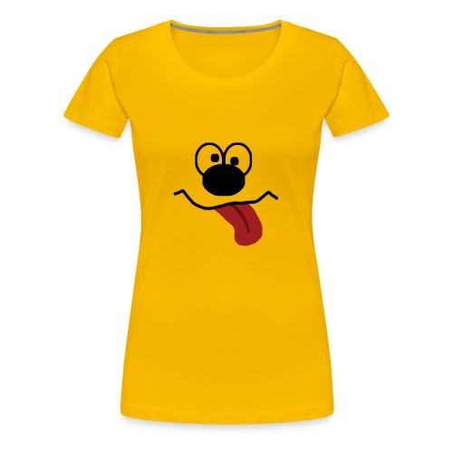 Funny Cartoon Face drunk tongue sticking out - Premium T-skjorte for kvinner