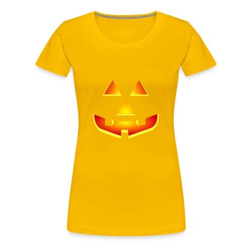 Smiling pumpkin - T Shirt, Halloween, Scary Face - Women's Premium T-Shirt