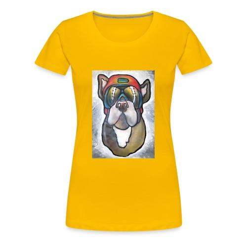 Bulldogge mit Sonnenbrille und Helm - Frauen Premium T-Shirt