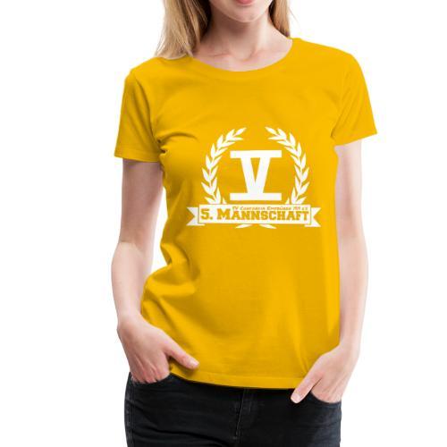 V mit College-Schriftzug - Weiß - Frauen Premium T-Shirt