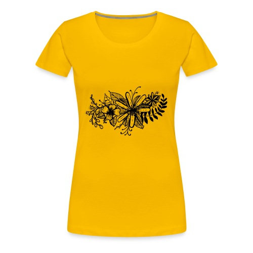Black Flower Artwork - Women's Premium T-Shirt