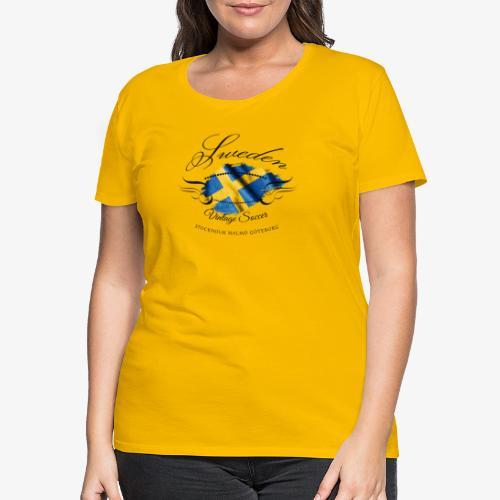 Vintage Sweden Flag - Frauen Premium T-Shirt