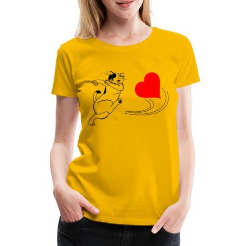 Katze Kickt Herz, Cat kick a Heart, Love, Ball - Frauen Premium T-Shirt