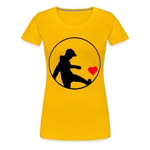 Junge kickt Herz, Man kick a Heart, Love, Sport - Frauen Premium T-Shirt