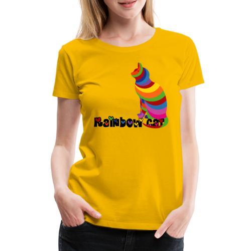 Rainbow Cat, Regenbogen Katze, Miau, silhouette - Frauen Premium T-Shirt