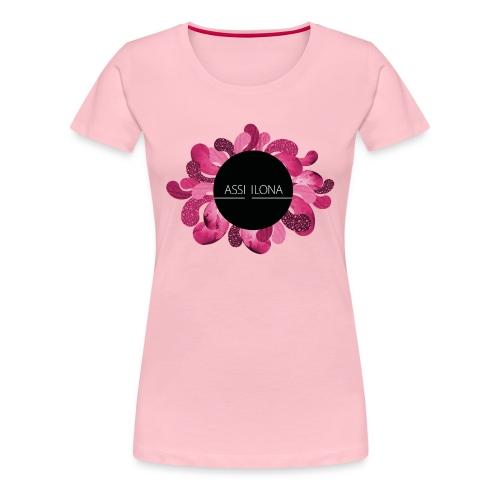 Lippis punaisella logolla - Naisten premium t-paita