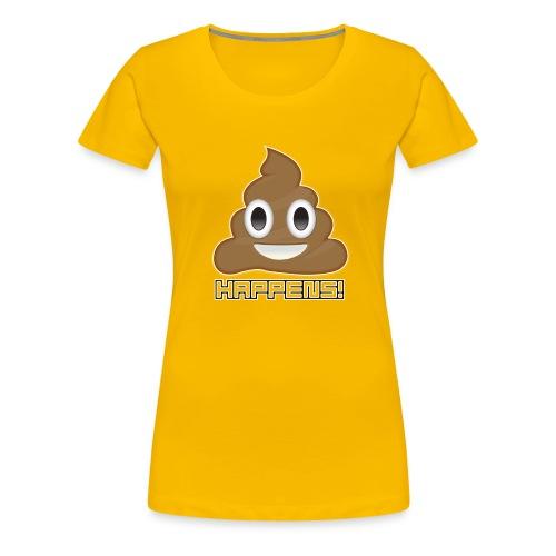 Emoji Poo Happens Funny Joke - Women's Premium T-Shirt