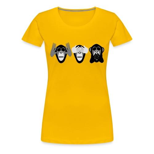 drei affen, nichts hoeren nichts sehen nichts - Frauen Premium T-Shirt