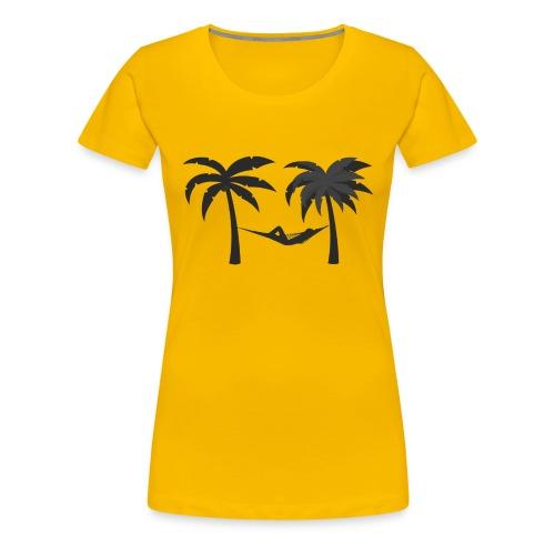 Hängematte mitzwischen Palmen - Frauen Premium T-Shirt