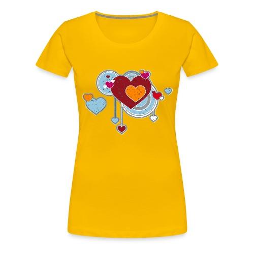 Liebe love Herzen hearts retro grunge Valentinstag - Women's Premium T-Shirt