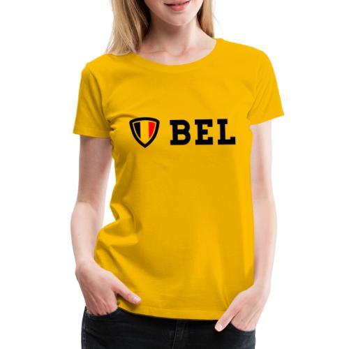 BEL Belgium Blason tricolore Football - T-shirt Premium Femme