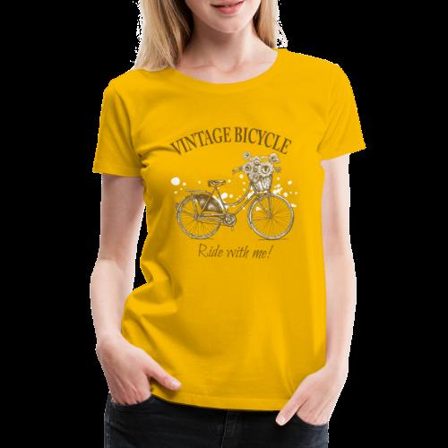 Vintage Damenfahrrad mit Sonnenblumen im Korb - Frauen Premium T-Shirt