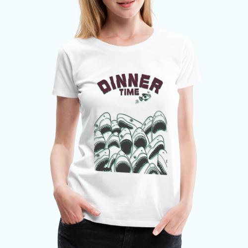 Dinner Time Funny Retro 90s Shark Shirt - Women's Premium T-Shirt