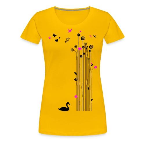 Frühling Schwan Blumen Schmetterlinge Swan - Women's Premium T-Shirt
