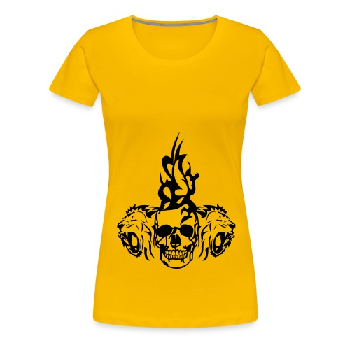 tete mort dead skull tribal lion - T-shirt Premium Femme