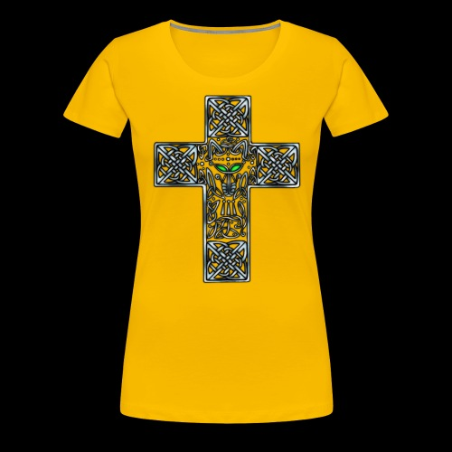 Wolf s Head Cross Silver - Women's Premium T-Shirt