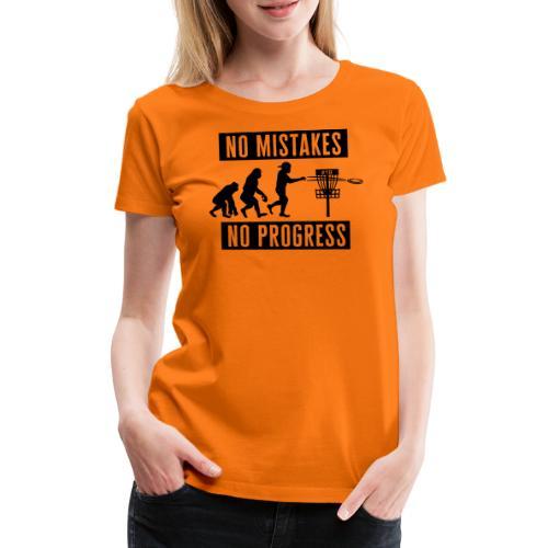 Disc golf - No mistakes, no progress - Black - Naisten premium t-paita