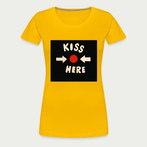 Kiss here Maske - Frauen Premium T-Shirt