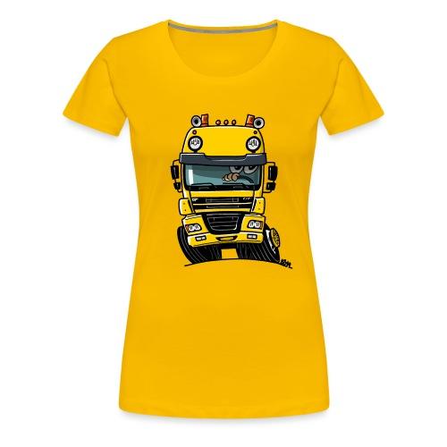 0810 D truck CF geel - Vrouwen Premium T-shirt