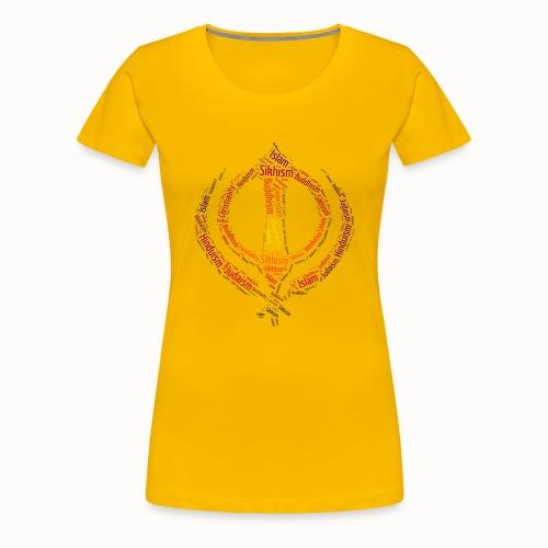 T-shirt sikh khanda encompassing world religions - Women's Premium T-Shirt