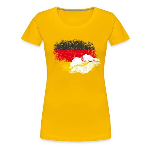 Fahne Deutschland Kussmund/Lippen - Fanshirt - Frauen Premium T-Shirt